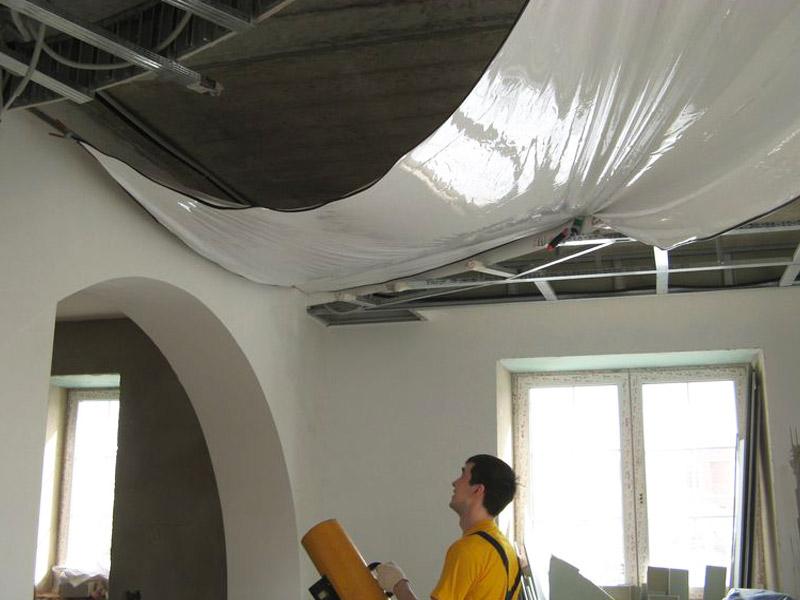 Натяжные тканевые потолки своими руками без нагрева